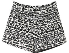 Black Geo Print High Waist Shorts Choies.com bester Fashion-Online-Shop Großbritannien Europa