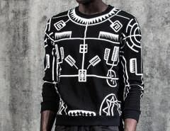 Black Geo Print Rib Detail Sweatshirt Choies.com bester Fashion-Online-Shop Großbritannien Europa