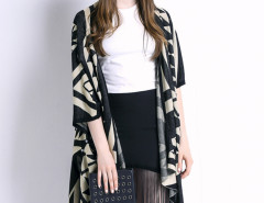 Black Geometric Pattern Half Sleeve Waterfall Knitted Cardigan Choies.com bester Fashion-Online-Shop Großbritannien Europa