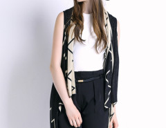 Black Geometric Pattern Sleeveless Waterfall Knitted Cardigan Choies.com bester Fashion-Online-Shop Großbritannien Europa