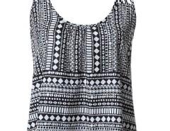 Black Geometry Print Strappy Cami Vest Choies.com bester Fashion-Online-Shop Großbritannien Europa