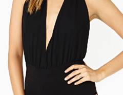 Black Halter Backless Plunge Ruched Bodysuit Choies.com bester Fashion-Online-Shop Großbritannien Europa