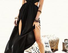 Black Halter Sheer Insert Cut Out Split Maxi Dress Choies.com bester Fashion-Online-Shop Großbritannien Europa