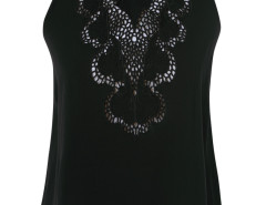 Black Halter Strappy Back Crochet Lace Detail Blouse Choies.com bester Fashion-Online-Shop Großbritannien Europa