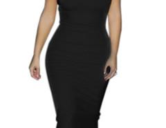 Black High Neck Cut Away Bodycon Midi Dress Choies.com bester Fashion-Online-Shop Großbritannien Europa