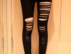 Black High Waist Sexy Ripped Bandage Strap Leggings Choies.com bester Fashion-Online-Shop Großbritannien Europa