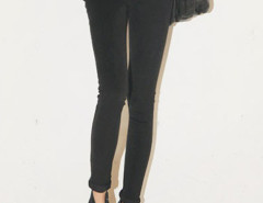 Black High Waist Two Button Skinny Jeans Choies.com bester Fashion-Online-Shop Großbritannien Europa