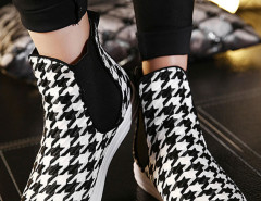 Black Houndstooth Plimsoll Flat Ankle Boots Choies.com bester Fashion-Online-Shop Großbritannien Europa