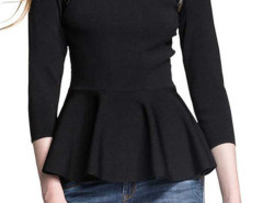Black Lace Panel Flounce Hem Blouse Choies.com bester Fashion-Online-Shop Großbritannien Europa