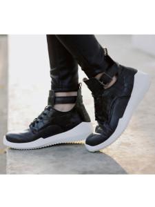 Black Lace Up Buckle Textured Sneakers Choies.com bester Fashion-Online-Shop Großbritannien Europa
