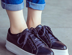 Black Lace Up Flatform Shoes Choies.com bester Fashion-Online-Shop Großbritannien Europa