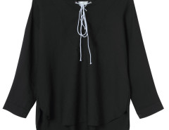 Black Lace Up Front 3/4 Sleeve Dipped Back Blouse Choies.com bester Fashion-Online-Shop Großbritannien Europa