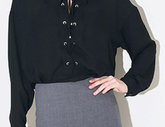 Black Lace Up Long Sleeve Shirt Choies.com bester Fashion-Online-Shop Großbritannien Europa