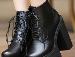 Black Lace Up Platform Boots Choies.com bester Fashion-Online-Shop Großbritannien Europa