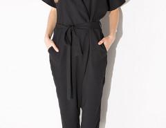 Black Lapel Tie Waist Jumpsuit Choies.com bester Fashion-Online-Shop Großbritannien Europa
