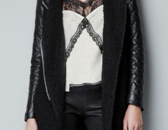 Black Lapel Zipper Detail PU Sleeve Coat Choies.com bester Fashion-Online-Shop Großbritannien Europa