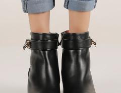 Black Leather Buckle Ankle Boots Choies.com bester Fashion-Online-Shop Großbritannien Europa