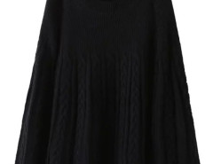 Black Long Sleeve Cable Knitted Cloak Cape Choies.com bester Fashion-Online-Shop Großbritannien Europa