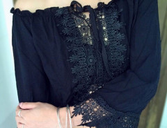 Black Off Shoulder Crochet Lace Up Flare Sleeve Crop Top Choies.com bester Fashion-Online-Shop Großbritannien Europa