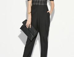 Black Off Shoulder Plaid Bandeau Jumpsuit Choies.com bester Fashion-Online-Shop Großbritannien Europa