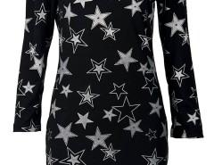 Black Off Shoulder Star Print Long Sleeve Bodycon Dress Choies.com bester Fashion-Online-Shop Großbritannien Europa