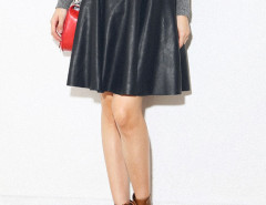 Black PU High Waist Belt Waist Skater Skirt Choies.com bester Fashion-Online-Shop Großbritannien Europa