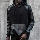 Black PU Panel Zip Side Drawstring Hoodie Choies.com bester Fashion-Online-Shop Großbritannien Europa