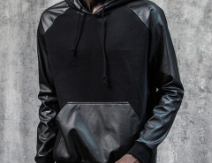 Black PU Panel Zip Side Drawstring Hoodie Choies.com bester Fashion-Online-Shop Großbritannien Europa