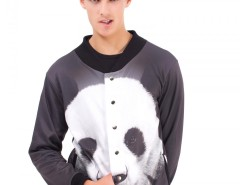 Black Panda Printed Polyester Baseball Jacket Carnet de Mode bester Fashion-Online-Shop