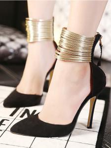 Black Pointed Metallic Strap Zip Detail High Heeled Pumps Choies.com bester Fashion-Online-Shop Großbritannien Europa