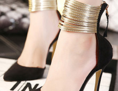 Black Pointed Metallic Strap Zip Detail High Heeled Pumps Choies.com bester Fashion-Online-Shop Großbritannien Europa