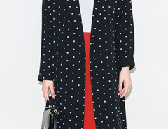 Black Polka Dot Lapel Long Sleeve Longline Blazer Choies.com bester Fashion-Online-Shop Großbritannien Europa