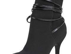 Black Ponited Toe Strappy Heeled Boots Choies.com bester Fashion-Online-Shop Großbritannien Europa