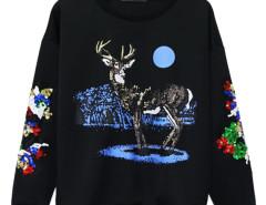 Black Sequin Deer Print Sweatshirt Choies.com bester Fashion-Online-Shop Großbritannien Europa