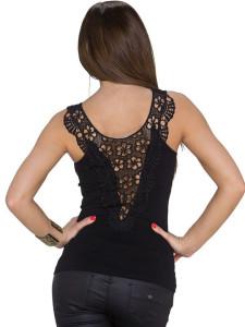 Black Sheer Crochet Lace Detail Tight Vest Choies.com bester Fashion-Online-Shop Großbritannien Europa