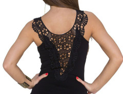 Black Sheer Crochet Lace Detail Tight Vest Choies.com bester Fashion-Online-Shop Großbritannien Europa