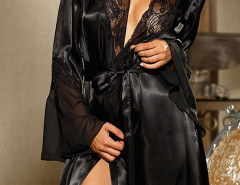 Black Sheer Panel Flare Sleve Sleepwear And Cami Dress & Underwear Choies.com bester Fashion-Online-Shop Großbritannien Europa