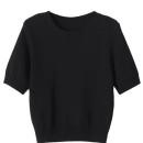 Black Short Sleeve Knitted Cropped Sweater Choies.com bester Fashion-Online-Shop Großbritannien Europa