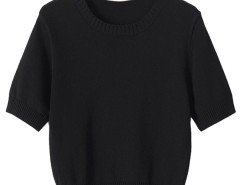 Black Short Sleeve Knitted Cropped Sweater Choies.com bester Fashion-Online-Shop Großbritannien Europa