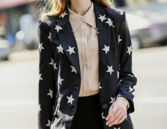 Black Star Print Lapel Long Sleeve Slim Blazer Choies.com bester Fashion-Online-Shop Großbritannien Europa
