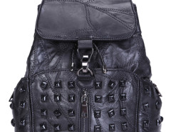 Black Studded Buckle Zip Detail Backpack Choies.com bester Fashion-Online-Shop Großbritannien Europa