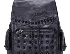 Black Studded Detail Side Pocket Drawstring Backpack Choies.com bester Fashion-Online-Shop Großbritannien Europa