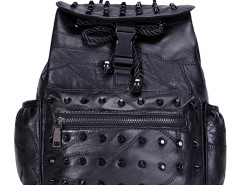 Black Studded Zip Detail Drawstring Backpack Choies.com bester Fashion-Online-Shop Großbritannien Europa