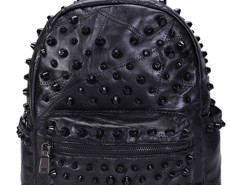 Black Studded Zip Detail Leather Backpack Choies.com bester Fashion-Online-Shop Großbritannien Europa