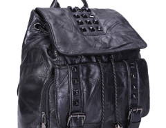 Black Studs Embellished Buckle Drawstring Backpack Choies.com bester Fashion-Online-Shop Großbritannien Europa
