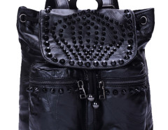Black Studs Embellished Drawstring Leather Backpack Choies.com bester Fashion-Online-Shop Großbritannien Europa