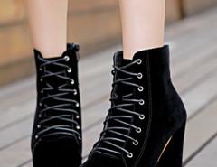 Black Suede Lace Up Heeled Boots Choies.com bester Fashion-Online-Shop Großbritannien Europa