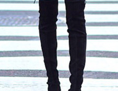 Black Suede Pointed Laced Back Over The Knee Flat Boots Choies.com bester Fashion-Online-Shop Großbritannien Europa