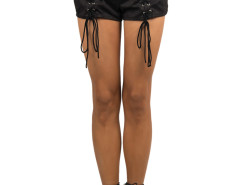 Black Suedette Multi Strap High Waist Shorts Choies.com bester Fashion-Online-Shop Großbritannien Europa