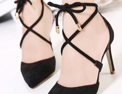 Black Suedette Pointed Bow Tie Lace Up Heels Choies.com bester Fashion-Online-Shop Großbritannien Europa